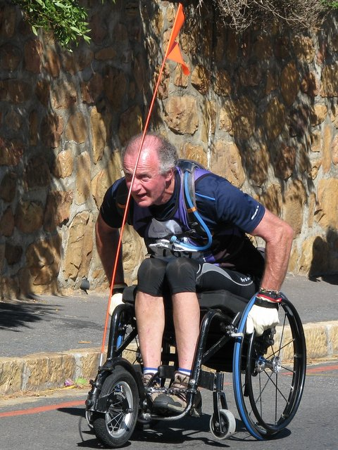 Photo showing Jeremy nearing the finish of the Peninsula Marathon, on 17 Feb 2013